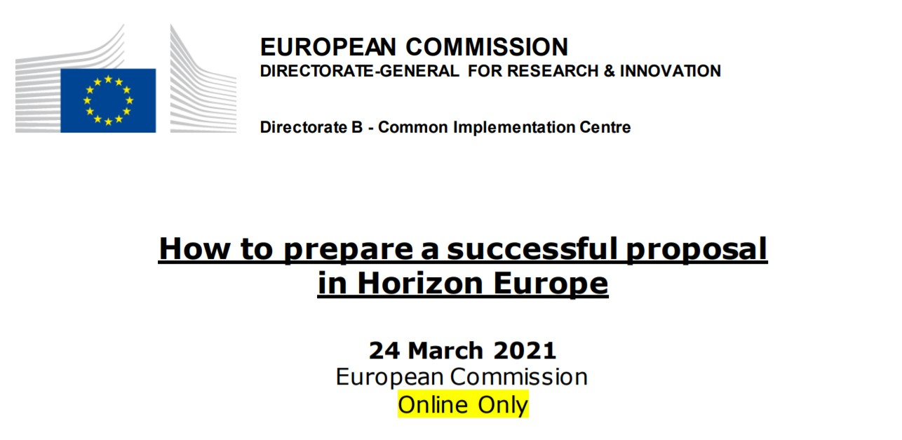 "(Re)Watch the webinar on ""How to prepare a successful proposal in Horizon Europe"""