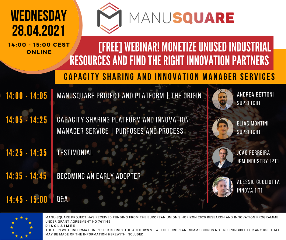 """Webinar """"Monetize unused Industrial resources and find the right Innovation partners"""""""